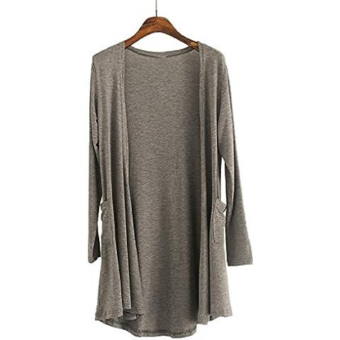 Culater® Mujer Primavera Otoño Calentamiento irregular Knit Cardigan (Gris Oscuro)