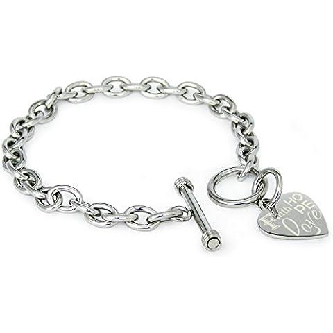 Faith (Fe) Love (Amor) Hope (Esperanza) Nombre Personalizado Acero inoxidable Corazón Grabado Encanto Pulsera y Collar