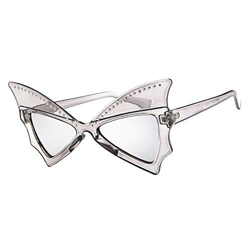 Dorical Vintage Sonnenbrille für Unisex/Damen Herren Großer Rahmen Fledermaus Form Brille mit Niet Elegant Retro Hochwertige Brillen/Brille Dekobrillen/Valentinstag Brille für Frauen Männer