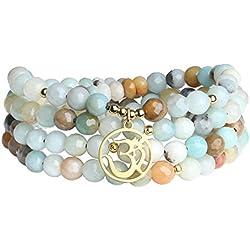 COAI Bracelet Multi-Tours Collier Mala 108 Perles Bouddhistes Pierre Amazonite Breloque Om Unisexe