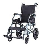 MMZZ Transportrollstühle Aluminiumlegierungs-Rahmen-Rollstuhl, zusammenklappbarer atmungsaktiver Zellularnetz-Wagen, älterer Reise-Ccooter, Vollgummireifen, mit Pedal und Handbremse, für Erwachsene