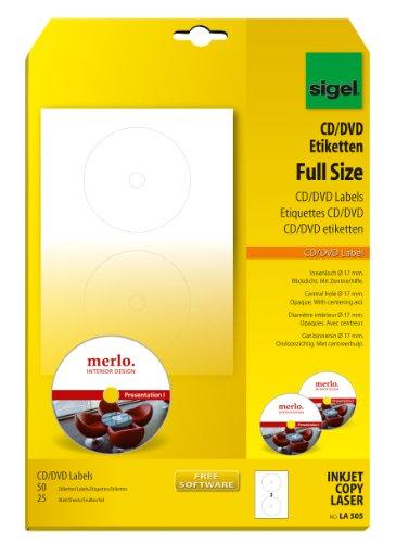 Sigel LA505 CD-/DVD-Etiketten weiß, blickdicht, 50 Etiketten = 25 Blatt, mit Zentrierhilfe, FullSize 17 mm Innenloch