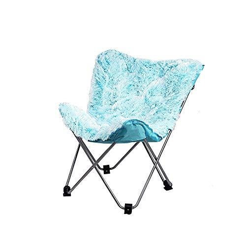 LI MING Shop Butterfly Stuhl Einfache Freizeit Klappstuhl Faul Sofa Stuhl Rückenlehne Liegestuhl Mond Stuhl Gewicht 240 Kg Tragen Können (Farbe : Blau)