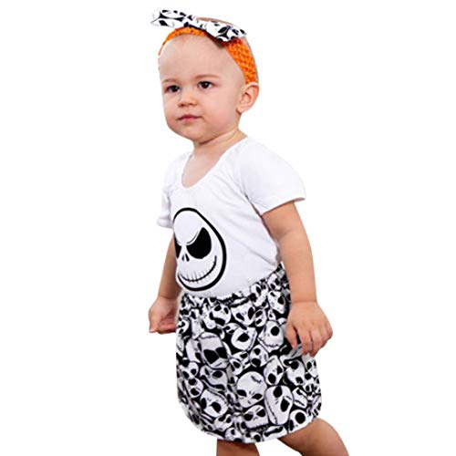 nt Baby Mädchen Schädel Print Strampler Overall + Stirnband + Rock Outfit Set Halloween Kleidung Sets Weiß Für 6 Monate-24 Monate (24M, Weiß) ()