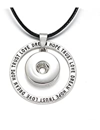 Soleebee Femme Homme Pression Boutons Collier Artificiel Chic Trust Love Pendentif Bijoux