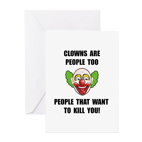 CafePress–Clown Kill–Grußkarte, Note Karte, Geburtstagskarte, innen blanko, matt