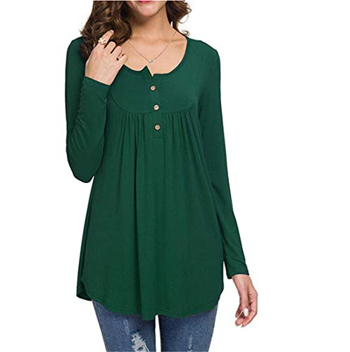 Amytrade Freizeithemden V-Ausschnitt Langarm Tunika Loose Fit Flowy Top Bluse Casual Shirt Long Sleeve Tops Plus Größe -