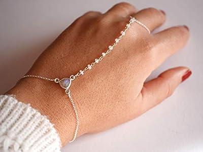 Bijoux de main - bracelet argent 925 - Chaîne argent - Bracelet de main - Bague argent - Chaine rosaire - pierre Opale Transparent - Fin