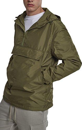 Preisvergleich Produktbild Urban Classics Herren Windbreaker Basic Pull-Over Jacket, leichte Streetwear Schlupfjacke, Überziehjacke für Frühjahr und Herbst - Farbe olive, Größe 4XL