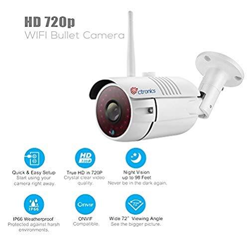 (16GB SD-Karte) Ctronics drahtlose Bullet WiFi IP Kamera mit 720p HD, 30m IR-Nachtsicht durch 30 LEDs, ONVIF 2.0 (inklusive 16GB SD-Karte) CTIPC-255CW720PS