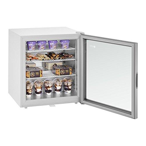 Royal Catering Mini Gefrierschrank Tiefkühlschrank RCFZ-W88L (88 L, isolierte Glastür, LED-Beleuchtung, Türschloss,Thermostat - 7 bis - 24 °C, inkl. Korb und Trenngitter)