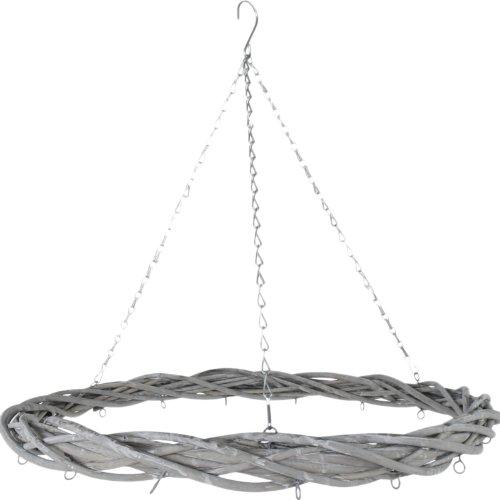 Rattan Deko Kranz mit Aufhängekette und Haken Adventskranz grau