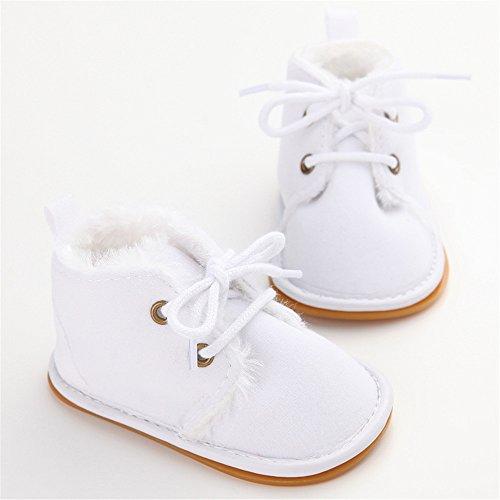 Estamico Baby Winterstiefel Jungen Mädchen Gummisohle Kleinkind Schuhe Weiß