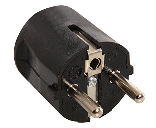 as - Schwabe Schutzkontakt-Zentralstecker, 230 V, schwarz, 45032