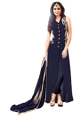 Designer Desk Women's Georgette Semi-stitched Salwar Suit 125F4F06DM_Blue_Free