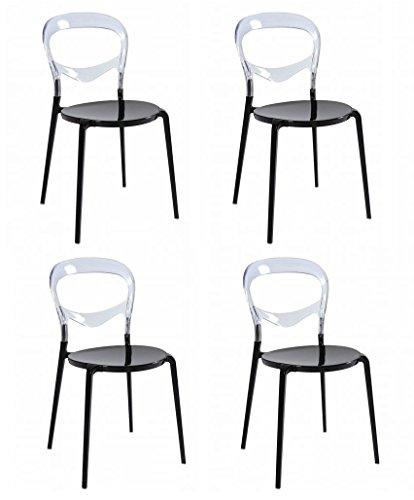 Set 4 SEDIE Design con base in alluminio nero e schienale in policarbonato trasparente - DESIGN OUTLET