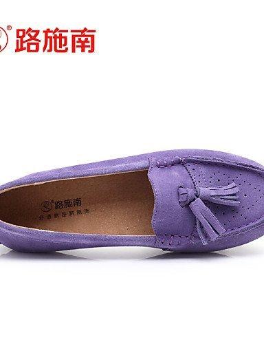 ShangYi Scarpe Donna - Ballerine - Ufficio e lavoro / Casual / Sportivo - Decolleté con cinturino - Piatto - Di pelle - Blu / Viola / Rosso Pink