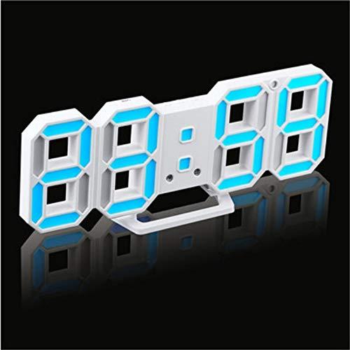 guyuell Reloj De Pared Led 3D Relojes De Alarma Digitales Modernos Pantalla Hogar Cocina Escritorio De Oficina Reloj De Pared De La Noche 24 O 12 Horas Pantalla, C