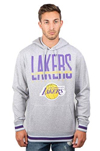 UNK NBA Herren ghm3588F NBA fokussierte Team Farbe Fleece Pullover Hoodie Sweatshirt, Herren, GHM3588F, Grau meliert - Los Angeles Lakers Team Fleece