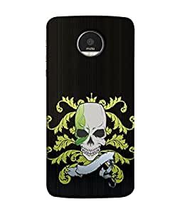 FUSON Designer Back Case Cover for Motorola Moto Z Force :: Motorola Moto Z Force Droid for USA (Death Stroke Human Skull Back Bones)
