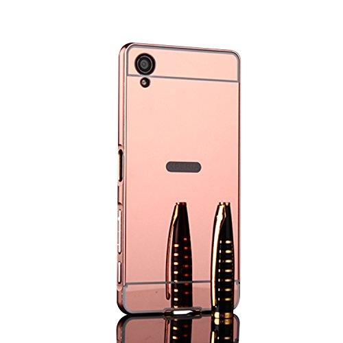 Spiegel Hülle Mirror Case TPU Schutzhülle Silikon Handyhülle Tasche Case Cover für XA1 Plus, Rose