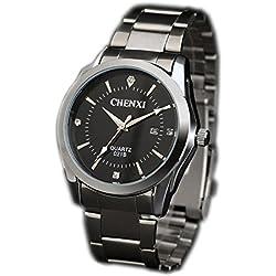 ufengke® vacuum plating rhinestone men calendar wrist watch,steel luminous waterproof watch for men-black