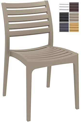 CLP Gartenstuhl ARES aus Kunststoff l Küchenstuhl belastbar bis 160 kg l Wasserabweisender, UV-beständiger Stapelstuhl Schlamm