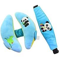 Newin Satr Cojines de cabeza con Cinturón de seguridad,Almohada de soporte de cabeza para cochecito de bebé,cinturón de seguridad para niños y bebés (Azul)