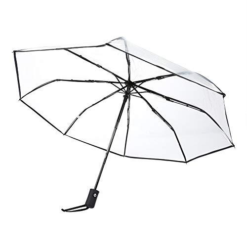 Cafopgrill ombrello pioggia trasparente, ombrello da viaggio pieghevole portatile ombrello da pioggia pieghevole da donna. protezione affidabile(nero)