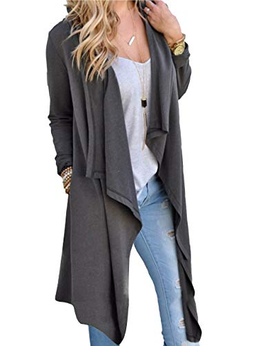 Jacke Mantel Shirt (SwissWell Damen Strickjacke Cardigan Pullover Blazer Oberteil Open Front Jacke Mantel Langarm Loose mit Taschen Grau M)