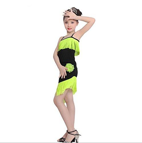 QCBC Kinder lateinische Tanz-Tassel-Kleid-Bügel-Kostüm Paso Doble Tanzübungsspiel für Kinder Kleidung mit kurzen Ärmeln (Rot, Grün, Blau), Green, - Paso Doble Kostüm