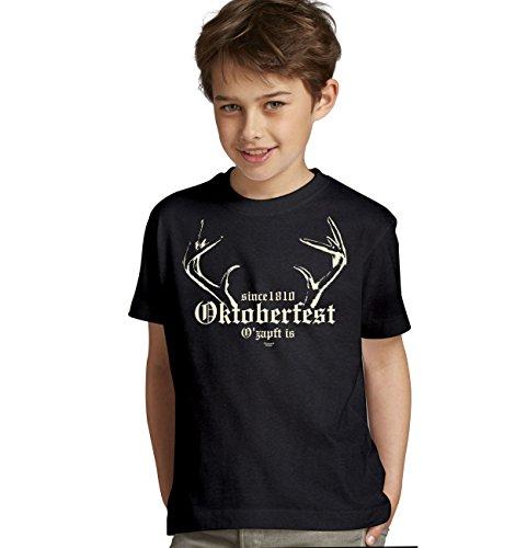 Kinder Jungen kurzarm Trachten T-Shirt Outfit zum Volksfest Wiesn Oktoberfest :-: Geburtstagsgeschenk Kids Kinder :-: Geschenkidee Teenager :-: Farbe: schwarz Gr: (T Shirt Designs Kinder)
