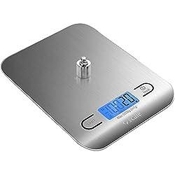 Scale Balance de Cuisine, Balance de Cuisine Electronique, 5kg/11lbs, Écran LCD Rétroéclairé,Balance Alimentaire Tactile Sensible,Auto-arrêt,Acier Inoxydable,Argenté(3 AAA Piles 1,5V)