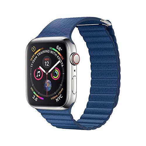 Yidai-Silu Watch Armband 42mm/44mm Uhrenarmband, 【Rindsleder, Litchi Muster, Magnetisch Verschluss】 Echt Leder Ersatzband Smartwatch Connector Uhrenband für Apple Watch Serie 4/3/2/1 - Blau -
