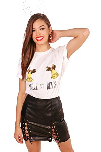 blanc Femmes Kelly Gin-gle Bells Slogan Xmas T-Shirt Blanc