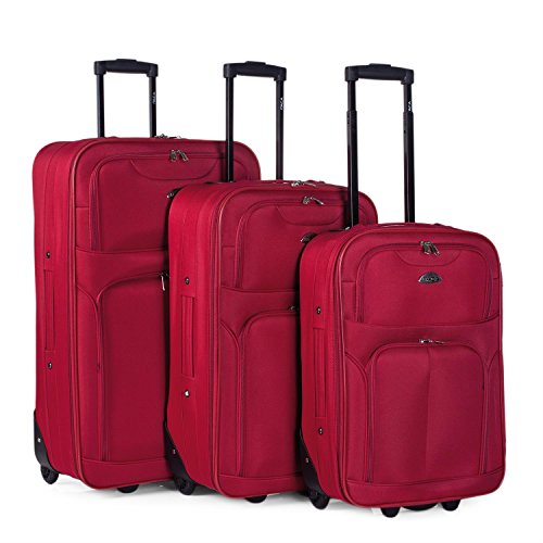 Set 3 trolleys Poliester/EVA Itaca - Rojo