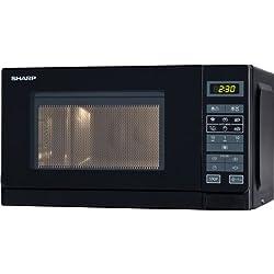 Sharp R-242BKW Mikrowelle / 20 L / Schwarz / 800 W / Auto-MinutenStart / Kurzzeitmesser 8 Gar- und Auftau-Automatik-Programme / Garraumbeleuchtung