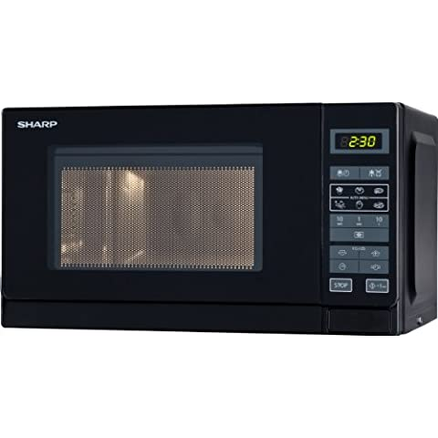 Sharp R242BKW - Microondas, 20 l, control táctil, 800 W, color negro