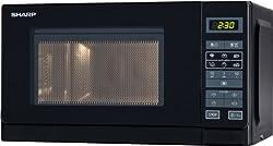 Sharp R242BKW Solo-Mikrowelle / 20 L / 800 W / 5 Leistungsstufen / 8 Automatikprogramme / Gewicht und zeitgesteuerte Auftauen / Kindersicherung / Energiesparmodus / Glasdrehteller (25,5 cm) / schwarz