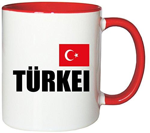 Mister Merchandise Kaffeetasse Türkei Fahne Flag Teetasse Becher, Farbe: Weiß-Rot