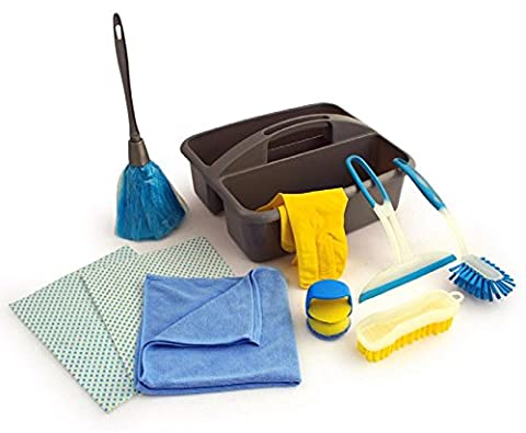 CrazyGadget® 10 Piece Starter Home Family Room Kitchen Office Cleaning Caddy Set - Including Duster, Sponge, Gloves, Duster Cloths etc.
