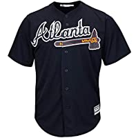 YQSB Camiseta Deportiva Baseball Jersey Liga de béisbol Atlanta Braves Camiseta Uniforme de béisbol,Black,Men-XL