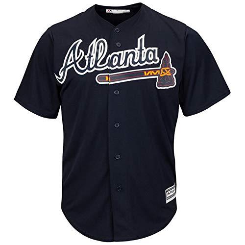 YQSB Jersey Baseball Baseball League Atlanta Braves Trikot Baseballuniform,Black,Men-M -