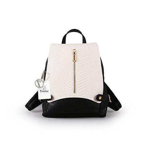 Yoome Alligator Grain Leder Rucksack Geldbörse große Kapazität Schultertasche Frauen Handtasche Schule Bookbag für Mädchen weiß mit schwarz