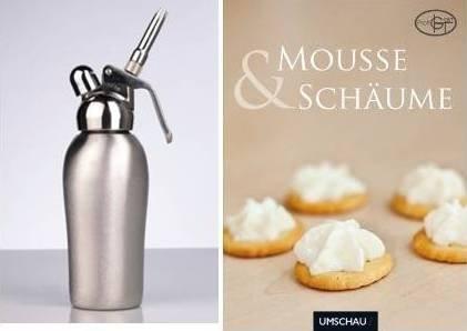 Liss Professional Voll-Edelstahl Sahnegerät 0,5l inklusive 10 Sahnekapseln und dem Rezeptbuch Mousse & Schäume