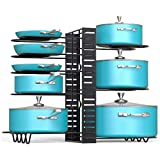 EverEx™ Adjustable Multipurpose pan and Pot tawa Rack Holder Stand Plate Dish lid Tray Utensils cookware Cupboard Cabinet Storage Shelf Shelves Organiser Organizer for Kitchen, Black
