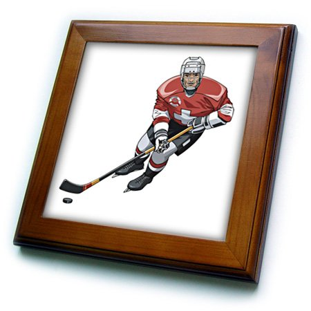 3dRose ft_38274_1 Hockey Player with Stick on White Framed Tile, 8 by 8-Inch