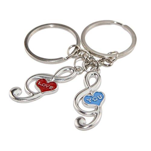 Winterworm coppia portachiavi, rosa love & blu you music note portachiavi, regalo per san valentino, anniversario di matrimonio