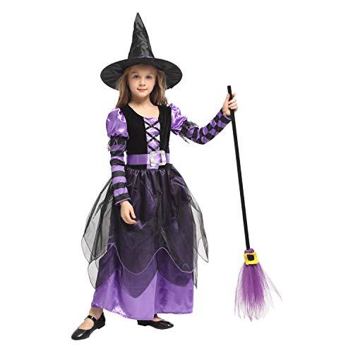 QUNSHIANK Mädchen Partykleid Halloween Cosplay Kostüm Kinder Zauberhexe Kostüm Kinder Mädchen Jungen Halloween Cosplay Kleid 4-12 Jahre (Farbe : Photo Color, größe : L)
