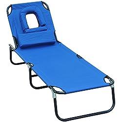 Outsunny - Tumbona inclinable de acero color azul plegable con almohada para masaje y leer